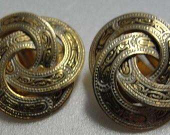 Spanish Goldtone Clip Earrings