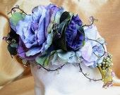 Purple Flower Crown, Bridal Headband, Periwinkle Blue Headpiece, Wedding Headdress, Spring Floral Crown, Flower Tiara, Woodland Flower Crown