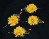 Sunny Yellow Fall Mums Floral Bridal Hair Clip Pins Wedding Bridesmaid Accessory