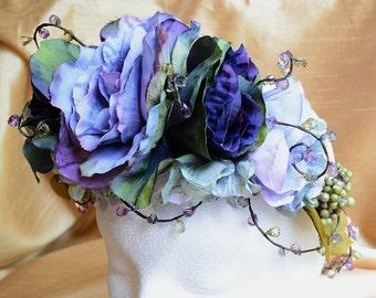 Purple Flower Crown, Bridal Headband, Purple Flower Headpiece, Wedding Headdress, Spring Boho Crown, Frieda Kahlo Crown, Woodland Crown