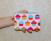 Sweet Cupcakes - iPhone 6s, iPhone 6, iPhone 5, iPhone 4, Samsung Galaxy S5/S6 - Cell Phone Gadget Zipper Pouch / Coin Purse