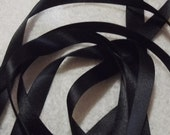 Black Double Satin Ribbon. 15mm x 3 metres