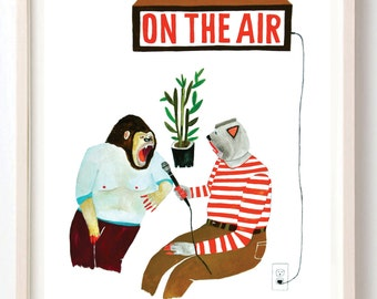 Art, Humor, Vintage, Poster, Animals, Animal mask, Interview, Radio, Quirky, The Interview- Fine Art Print