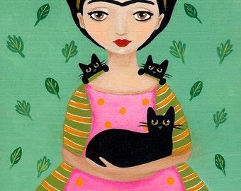Frida and Black Cats - Cat Folk Art Print 8x10, 11x14