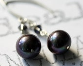 Not Quite Black Pearl Sterling Silver Dangle Earrings