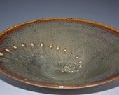 Ceramic Textured Serving Bowl Caramel Green Brown Blue ready to ship  11037