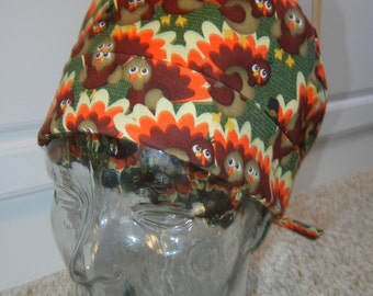 Tie Back Surgical Scrub Hat with Thanksgiving Turkeys
