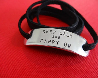 Keep Calm and Carry On Wrap Bracelet - Custom Hand Stamped Bracelet - WWII