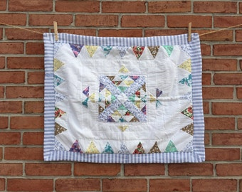 Pretty Stripped & Floral Handmade Cotton Quilted Pillow Sham