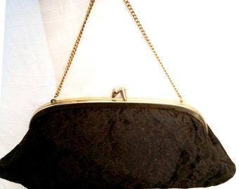 Vintage 1960's Goth Black Lace Chain Handle Evening Purse Clutch Bag