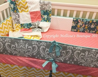 Custom Grey Damask & Rose Pink Aqua Floral with Yellow 4-Piece Complete Boutique Crib Nursery Bedding Set with Piping