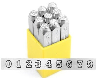 NUMBERS steel stamps - VARSITY - by ImpressArt - 6mm numbers - includes how to stamp metal tutorial