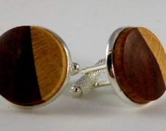 Cufflinks Brazilian Cherry and Ash Wood Stirling Silver Plated 20mm