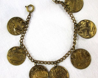 Vintage 1939 San Francisco Exposition Souvenir Coins Charm Bracelet