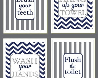 Kids Bathroom Art - Wash Your Hands, Brush Your Teeth,  Flush the Toilet - Chevron - Monogram