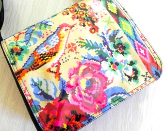 Tapestry fabric print bird and flower cross body bag