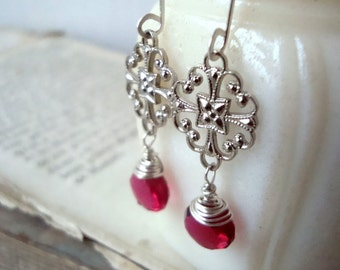 Cherry Red Filigree Earrings Silver and Chalcedony Vintage Style Gifts Under 30 Holiday Jewelry Valentines Day July Birthstone