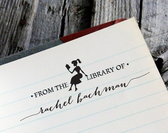 "CUSTOM LIBRARY STAMP - Eco Friendly & self inking, gifts for wedding, housewarming, book lover, book worm custom address stamp ""Library 3"""