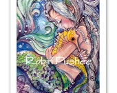 Sea Horse Hugs, Mermaid art, Colorful PRINTS, 2 sizes to choose from