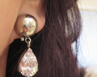 Bride-Bridesmaids-Crystal-Rhinestone-Pearl Clip on Earrings Bridal Jewelry Bridal Accessories