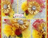 Boutique Custom Princess Belle inspired OTT Glamour Bloom Hair Flower clip headband