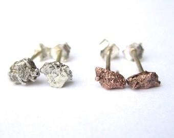 Rustic and Pure Copper Stud Earrings, Sterling Silver, Rough Rustic Earrings
