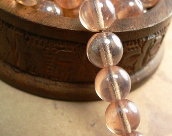 Peach Shimmer Czech Glass Beads Round Druk Apricot Luster 8mm (30)