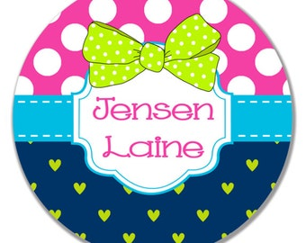 Polka Dot Heart Personalized Plate, Bow Plate, Birthday Plate, Baby Girl Plate, Name Plate, Keepsake Plate