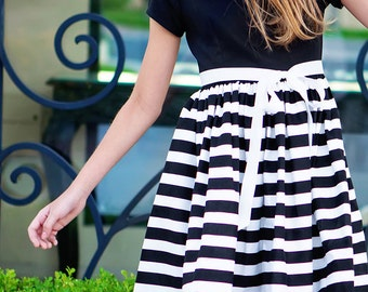 SALE!!Retro 1960's Style Black and White Stripe Dress children child girls clothing