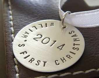 "Baby's First Christmas Ornament - Personalized Baby's 1st Christmas Ornament - Hand Stamped Sterling Silver 1"" Keepsake Ornament"