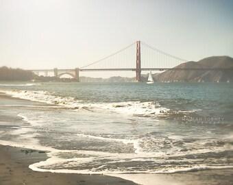 Golden Gate Bridge, San Francisco Photography, San Francisco Wall Art, Sailboat Print, Nautical Decor, Red, Blue, San Francisco Photo