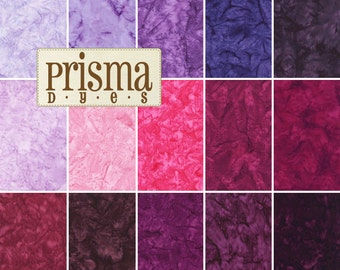 "Lunn Studios Prisma Dyes Plum Perfect Batiks Precut 5"" Charm Pack Fabric Quilting Cotton Squares Robert Kaufman CHS-268-42"