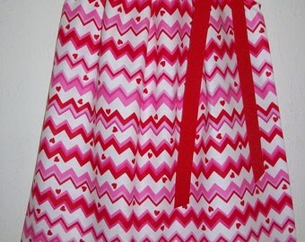 Girls Dresses Pillowcase Dress Chevron Dress with Hearts baby dress toddler dress Red and Pink dress Valentines Day Dress Valentines Clothes