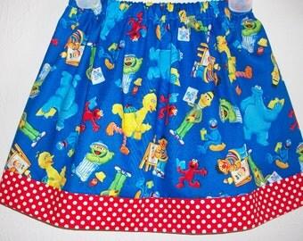 Sesame Street Skirt Blue Red Elmo Big Bird Bert Ernie Oscar Cookie Monster toddler girl dress