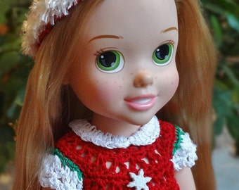 Crochet outfit Disney 14 15 inch Princess Toddler doll Dress Set Christmas Snowflake Red Green White