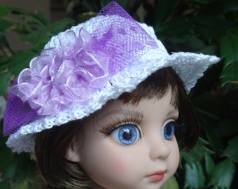 Crochet Hat for 10 inch Tonner Ann Estelle Patsy  Doll Head size 7 1/2 inches White Orchid Lavender