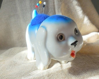 Vintage Doggie Planter Pin Cushion  JAPAN