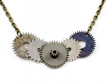 Steampunk Industrial Post-Apocalyptic Antiqued Silver and Gunmetal Necklace with Vintage Clock Gears by Velvet Mechanism
