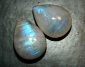 AAA Rainbow Moonstone Polished Briolette Pair