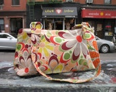 Cotton Print Vintage inspired Flower Power Womens Shoulder bag, Cotton Print Handbag, Purse, Baguette Bag