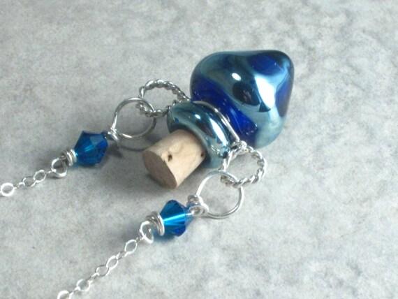 Elemental Water Tiny Lampwork Poison Bottle Necklace
