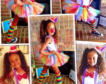 Girls Clown Costume - Girls Halloween Tutu Costume - Tutu, Suspenders, Leg Warmers, Hat
