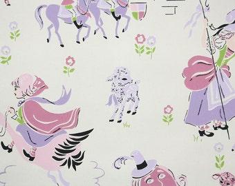 1960s Vintage Wallpaper by the Yard - Children's Vintage Wallpaper Humpty Dumpty Nursery Rhyme