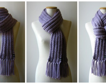 Lavender Wool Chunky Knit Scarf, Long Hand Knit Man Scarf, Womens Scarves, Wrap, Cute, Winter, Purple, Ribbed Scarf with Fringes, Wool Scarf