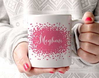 Personalized Coffee Mug -Scatter Dots with name