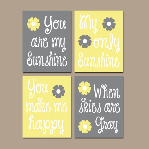 You Are My Sunshine Wall Decor yellow gray you are my sunshine wall art canvas or prints