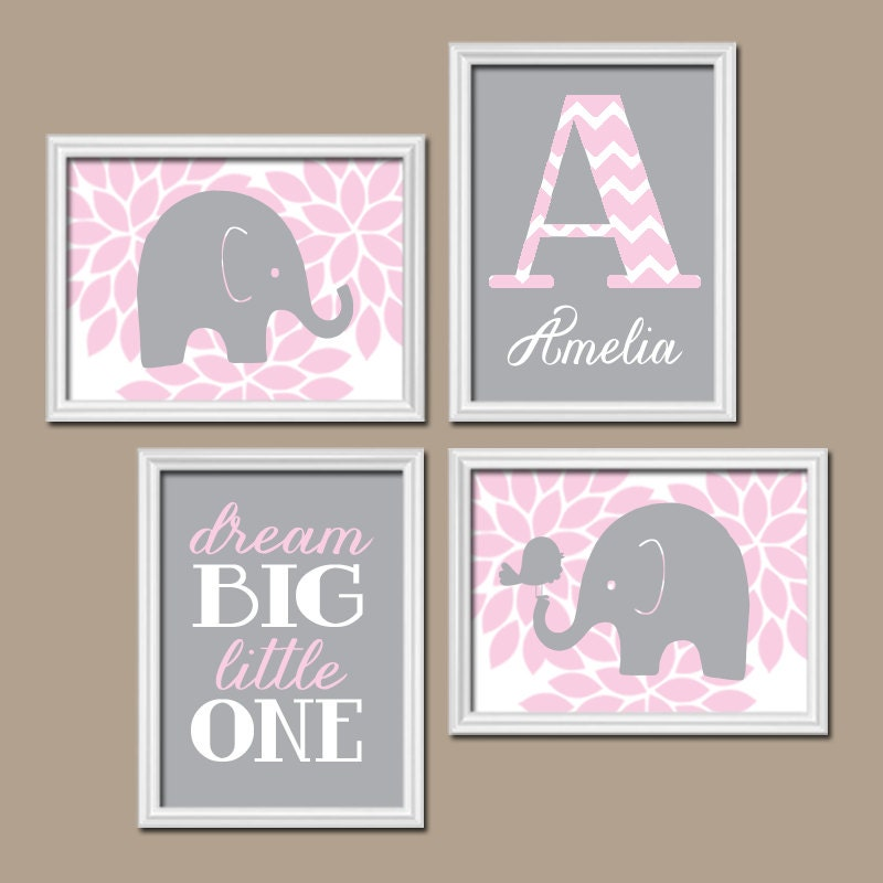 Pink gray elephant nursery baby girl nursery wall art dream for Pink wall art