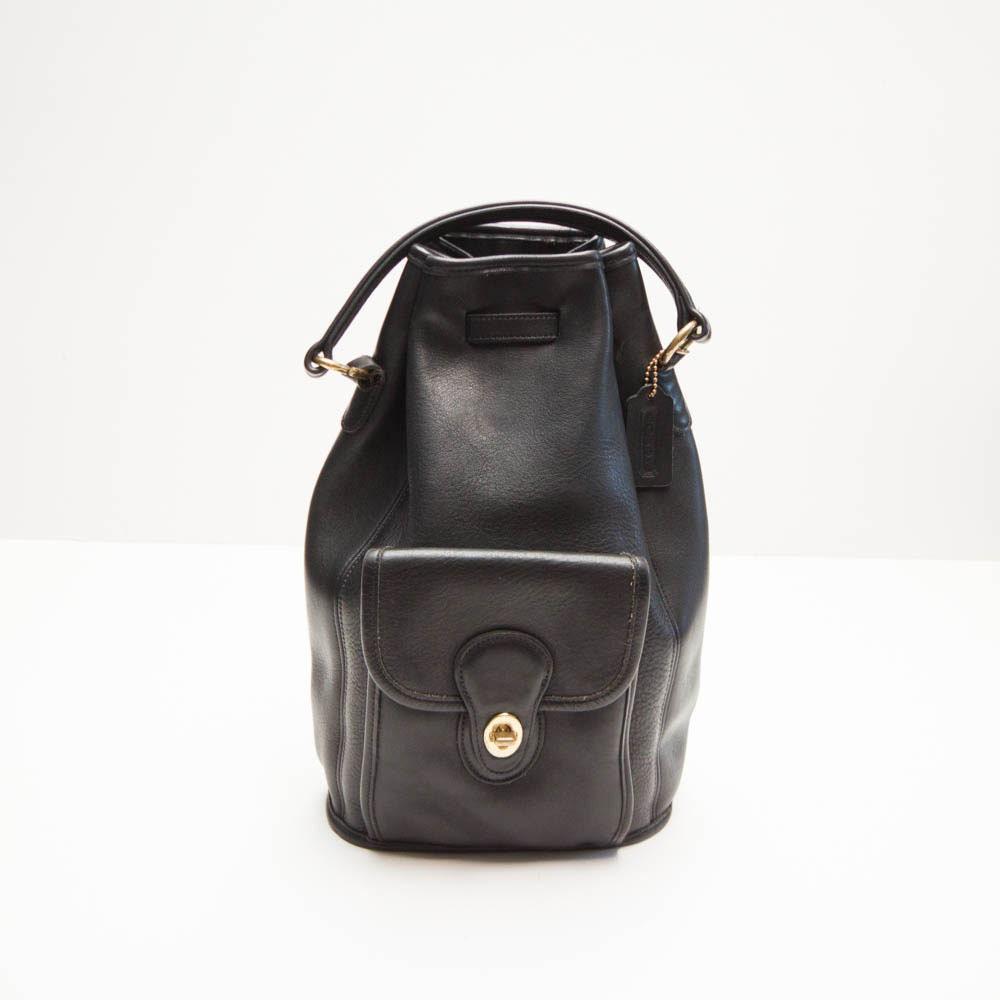 Vintage Coach X Large Black Leather Backpack Rucksack Sling