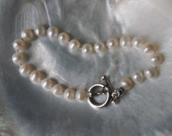 Natural Pearl & Sterling Silver Bracelet with Toggle