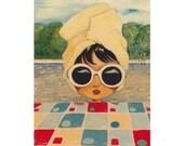 Mimi Ride in the Hamptons Giclee Fine Art Print, Painting, Giclée